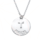 N900 - Sterling Silver Personalized Custom Name Necklace with Cross