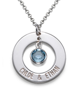 N204 - Sterling Silver Personalized Couples Names & Birthstone Necklace