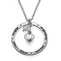 N117 - 925 Sterling Silver personalized necklace with any inscription or names and birthstone