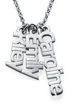 N452 - Sterling Silver Personalized Family Names Necklace, up to 5 Names