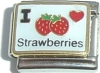 CL74 - I love Strawberries Italian Charm Link