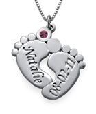 N459 - Sterling Silver Personalized Baby Feet Necklace with Birthstone