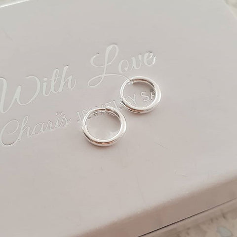 Silver baby round hoop earrings