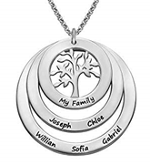 N61 - Family Circle Sterling Silver Necklace with Hanging Family Tree