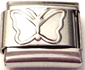 CLL75 - Stainless Steel Butterfly Plain Italian Charm Link
