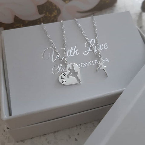 C1003-C26388 - 925 Sterling Silver BFF Ballerina Ballet Necklace Set