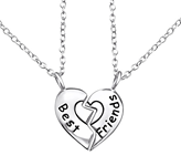 C489-C26374 - 925 Sterling Silver Best Friends Necklace Set of 2