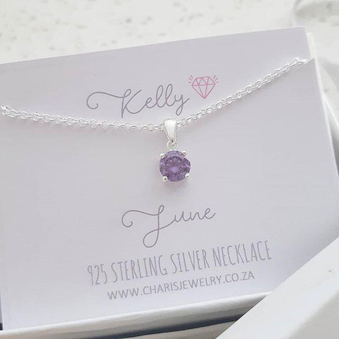 C1423-C33212 - 925 Sterling Silver Birthstone June Necklace, Personalized Card
