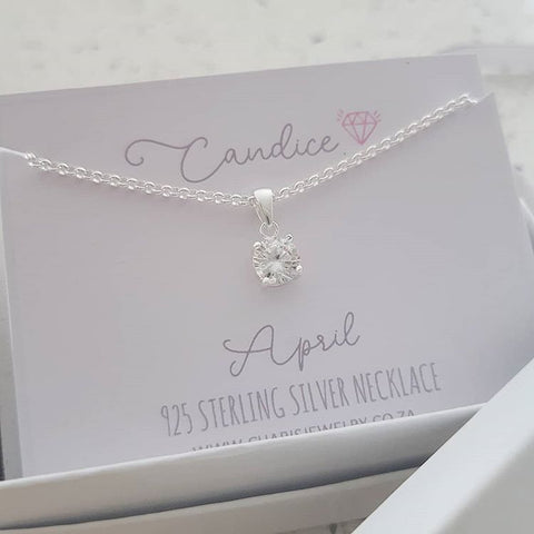 C1423-C33212 - 925 Sterling Silver Birthstone April Necklace, Personalized Card