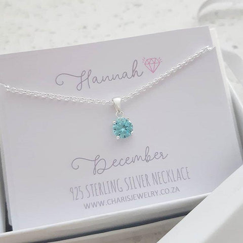 C33212 - 925 Sterling Silver Birthstone December Necklace