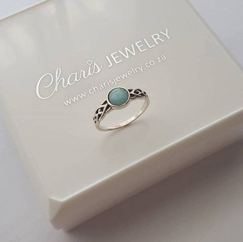 C259-C32429 - 925 Sterling Silver Amazonite semi Precious Ring