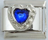 EL-052 - Dark Blue Heart Italian Charm Link, Stainless Steel