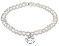 C795-C29024 - 925 Sterling Silver Tree of Life Fresh Water Pearl Stretch Bracelet
