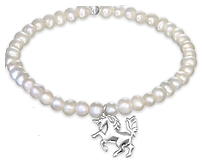 C571-C32441 - 925 Sterling Silver Unicorn Fresh Water Pearl Stretch Bracelet