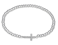 C176-C29029 - 925 Sterling Silver Small CZ Cross Elegant Stretch Bracelet