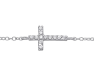 C304-C31531 - 925 Sterling Silver Cross Bracelet, Adjustable 16cm + 2cm.