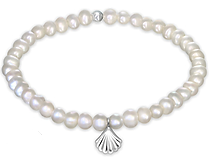 C32240 - 925 Sterling Silver Sea Shell Freshwater Pearl Stretch Bracelet
