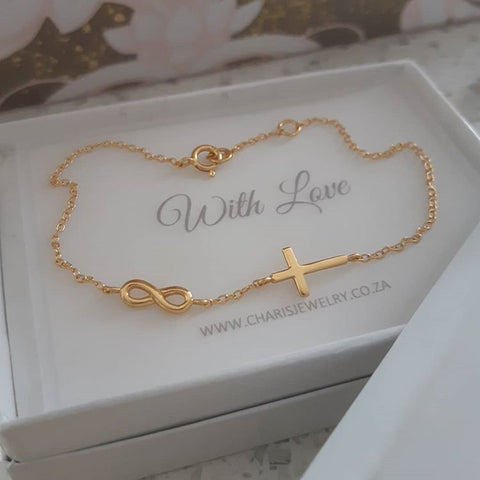 Gold plated sterling silver Cross and Infinity Bracelets online shop in SA