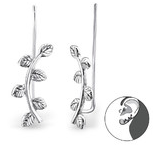 C651-C28724 - 925 Sterling Silver Leaf Branch Ear Pin Earrings