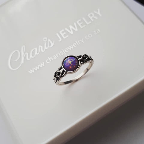 C488-C34977 - 925 Sterling Silver Multi lavender Opal Ring
