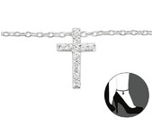 C140-27642 - 925 Sterling Silver Cross Adjustable Ankle Chain / Anklet