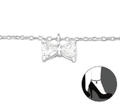 C27647 - 925 Sterling Silver Crystal Bow Adjustable Ankle Chain / Anklet