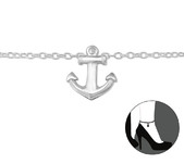 C204-C29973 - 925 Sterling Silver Anchor Adjustable Ankle Chain / Anklet