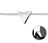 C30318 - 925 Sterling Silver Triangle Adjustable Ankle Chain / Anklet