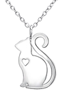 C491-C30877 - 925 Sterling Silver Cat Heart Necklace