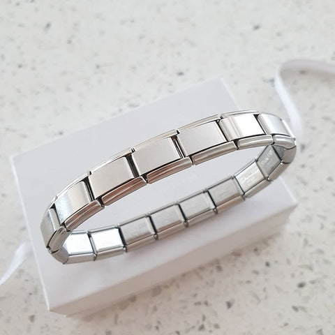 EST01 - Italian Charm Starter Bracelet, Stainless Steel 18 Links (compatible with popular brands)