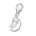 C386-C3017 - 925 Sterling Silver Moon and Star Dangle Charm