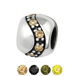 Sterling Silver CZ Stone European charm bead