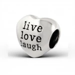 C111-C12934 - 925 Sterling Silver European Charm Bead, Live Laugh Love