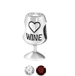 C664-C9996 - 925 Sterling Silver CZ Wine European Charm Bead