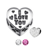 Sterling silver I love you European charm bead