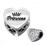 Sterling silver princess european charm bead