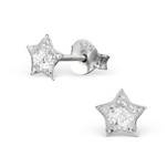 C233-C28318 - 925 Sterling Silver Star Silver Glitter Earings 5mm