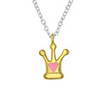 C1042-C35574 - 925 Sterling Silver Children's Crown Necklace