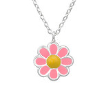 C1041-C31090 - 925 Sterling Silver Children's Flower Necklace