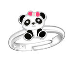 C1033-C28183 - 925 Sterling Silver Children's Panda Bear Ring, Adjustable