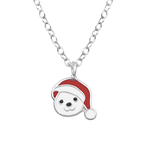C998-C36497 - 925 Sterling Silver Christmas Teddy Bear Necklace
