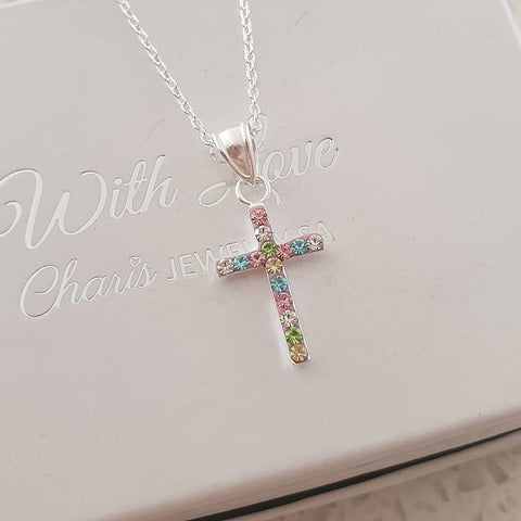 B104-C22519 - 925 Sterling Silver Children's Cross Necklace with pretty crystals