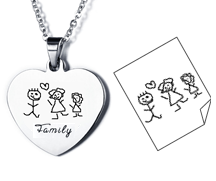 EJ101 - Personalized Children's Drawing Necklace, Stainless Steel