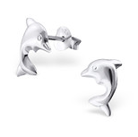 C686-C16412 - 925 Sterling Silver Children's Dolphin Ear Studs