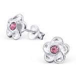 B136 - C20285 - Sterling Silver Child's Flower Ear Stud Earings with Pink Crystal