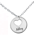 EJ113 - Personalized Tiny Heart Necklace 12mm Pendant, Stainless Steel