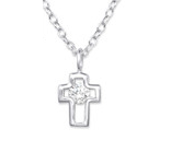 C378-C33280 - 925 Sterling Silver CZ Small Cross Necklace