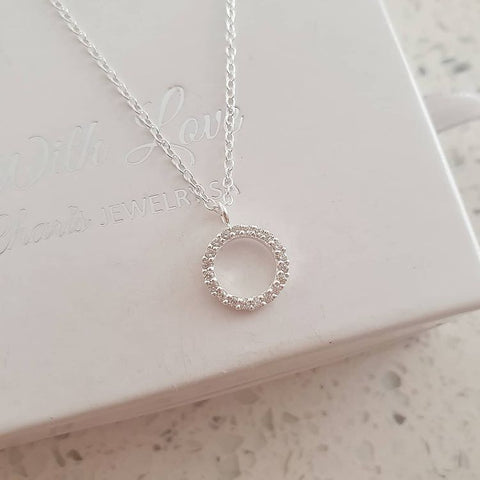 C960-C36358 - 925 Sterling Silver CZ Stones Family Circle Necklace