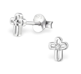 C640-C33217 - 925 Sterling Silver CZ Children's Cross Ear Stud Earrings 4.5x6mm