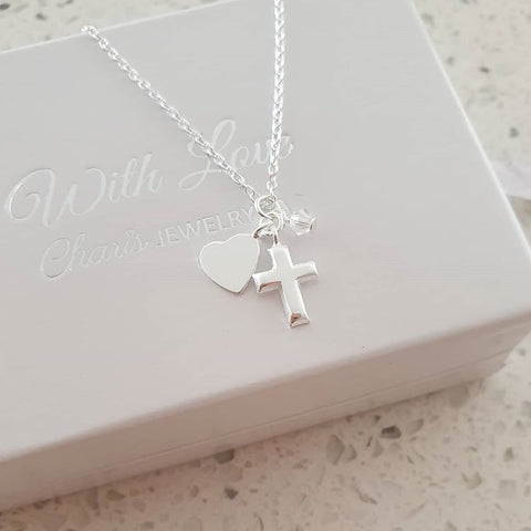 C609-C32728 - Sterling Silver Small Cross, Heart & Crystal Necklace